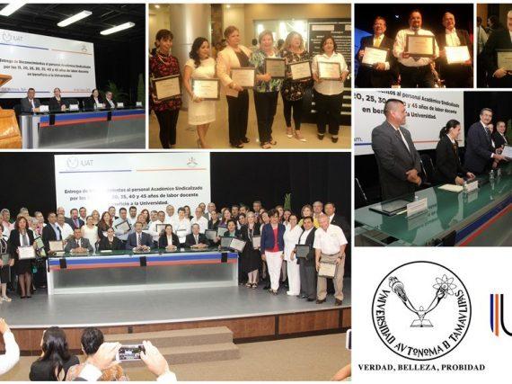 Entrega Rector reconocimientos al personal académico de la UAT.