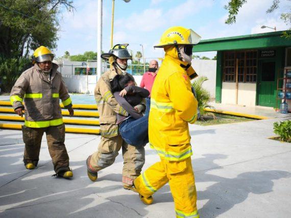 Realiza Protección Civil Río Bravo simulacro en el CONALEP.