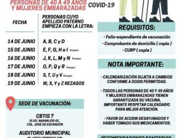 Aplican anti COVID-19 a personas de 40-49, mayores y embarazadas