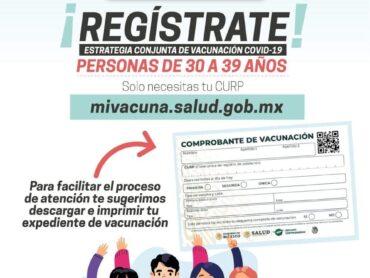 Vacunarán contra COVID de 30 a 39 años en Reynosa