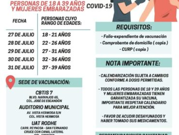 Inicia martes 27 Vacunación anti COVID-19 para 18-39 años y embarazadas